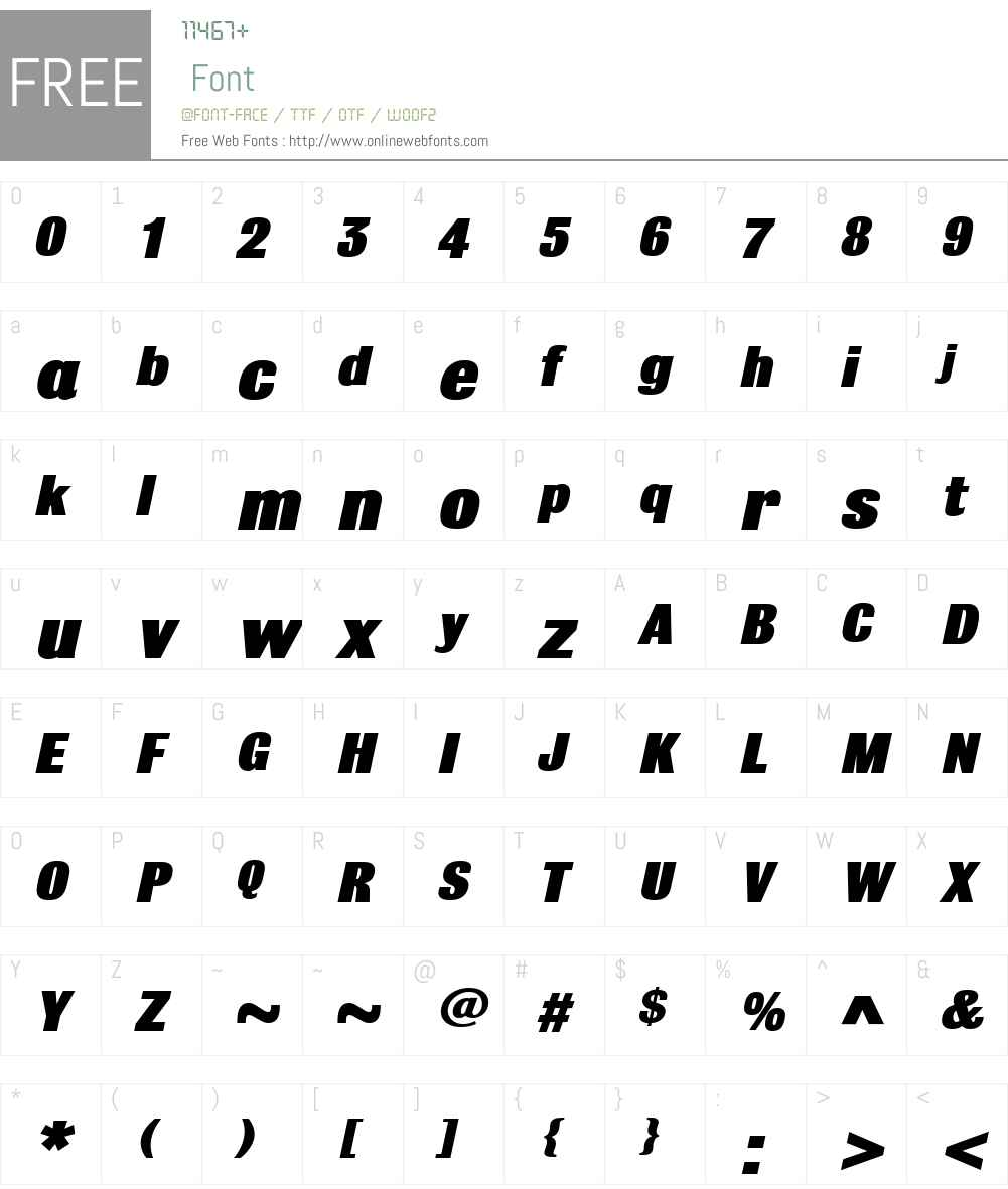 BulldogW01-BlackItalic Font Screenshots