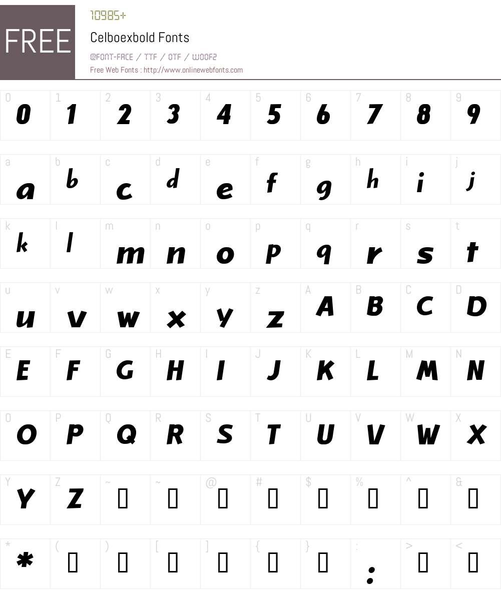 Celboexbold Font Screenshots