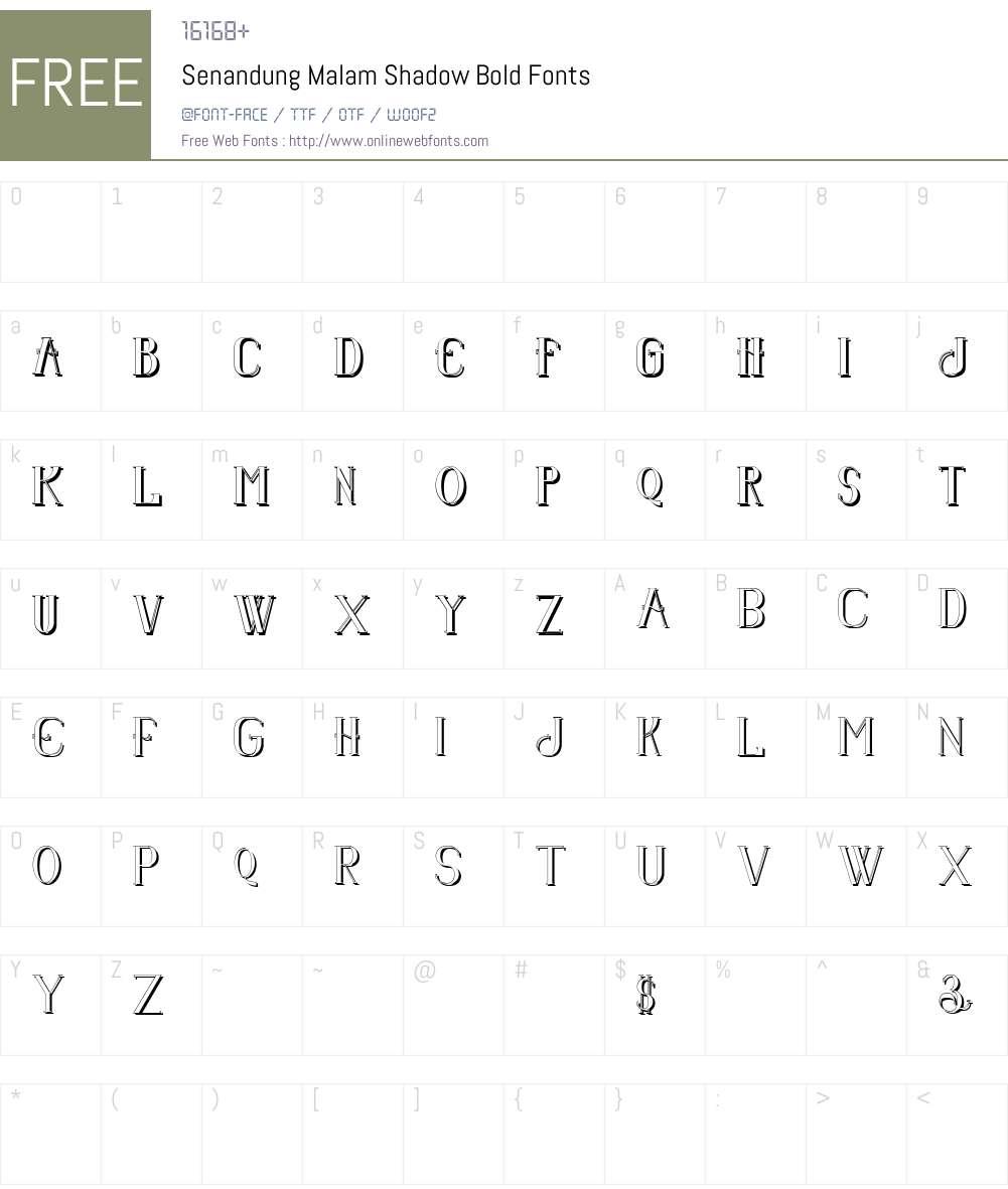 Senandung Malam Shadow Font Screenshots