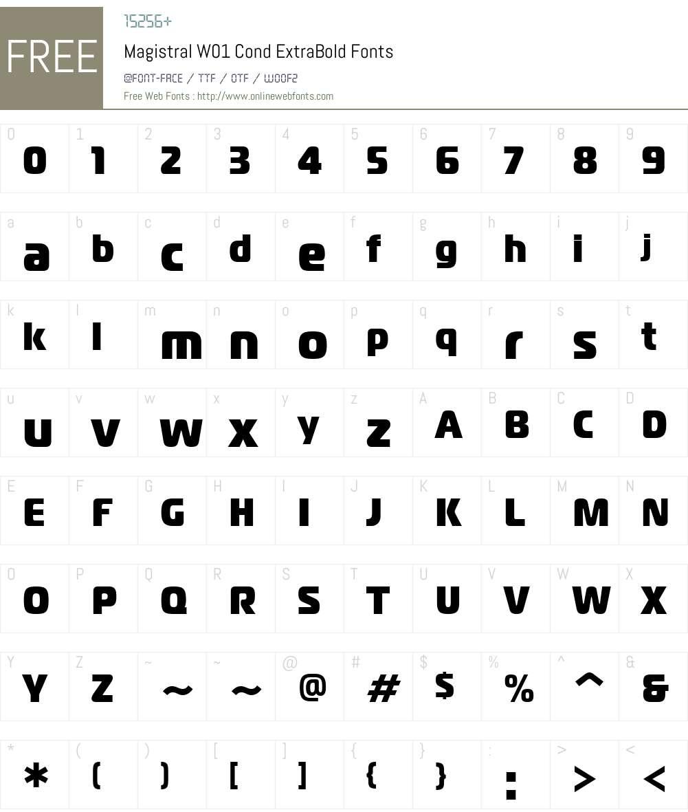 MagistralW01-CondExtraBold Font Screenshots