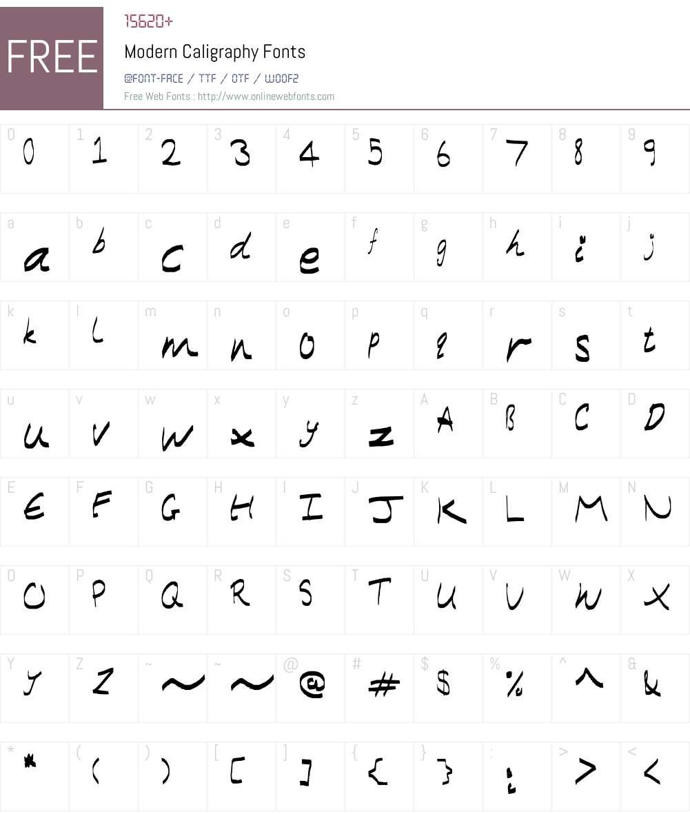 Modern Caligraphy Font Screenshots