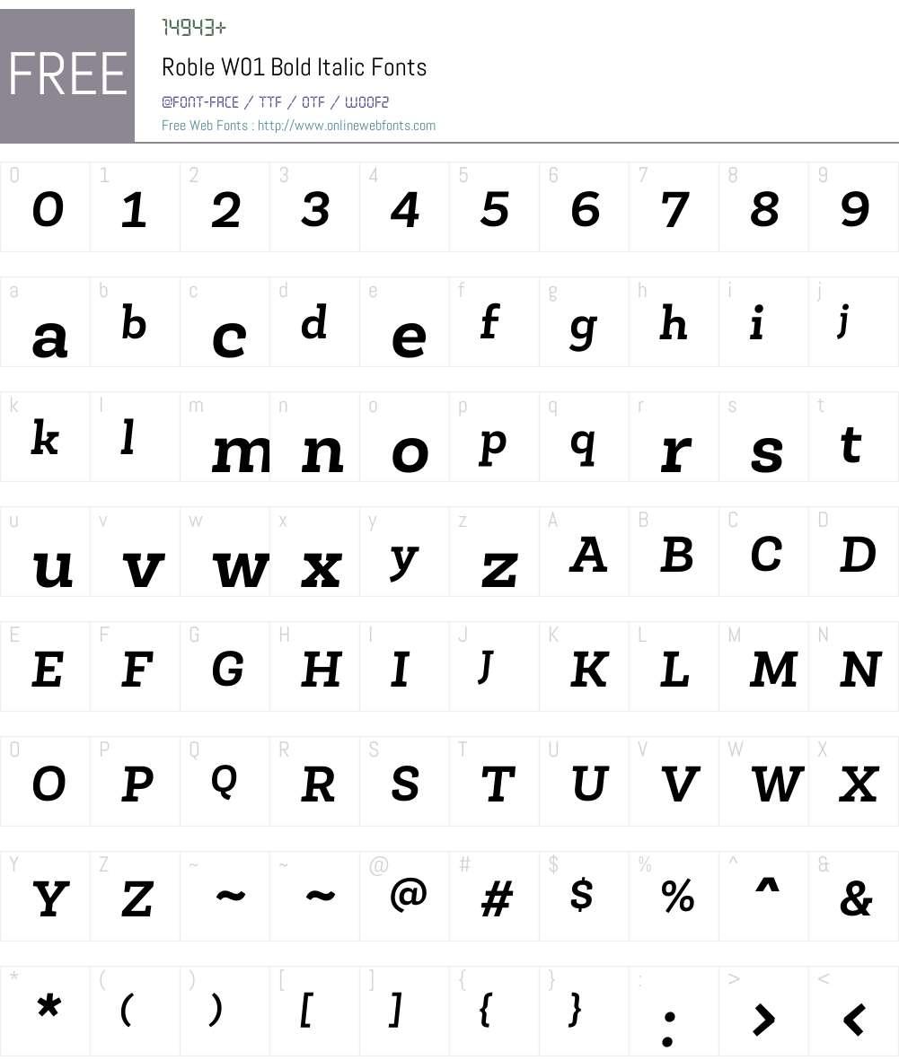 RobleW01-BoldItalic Font Screenshots