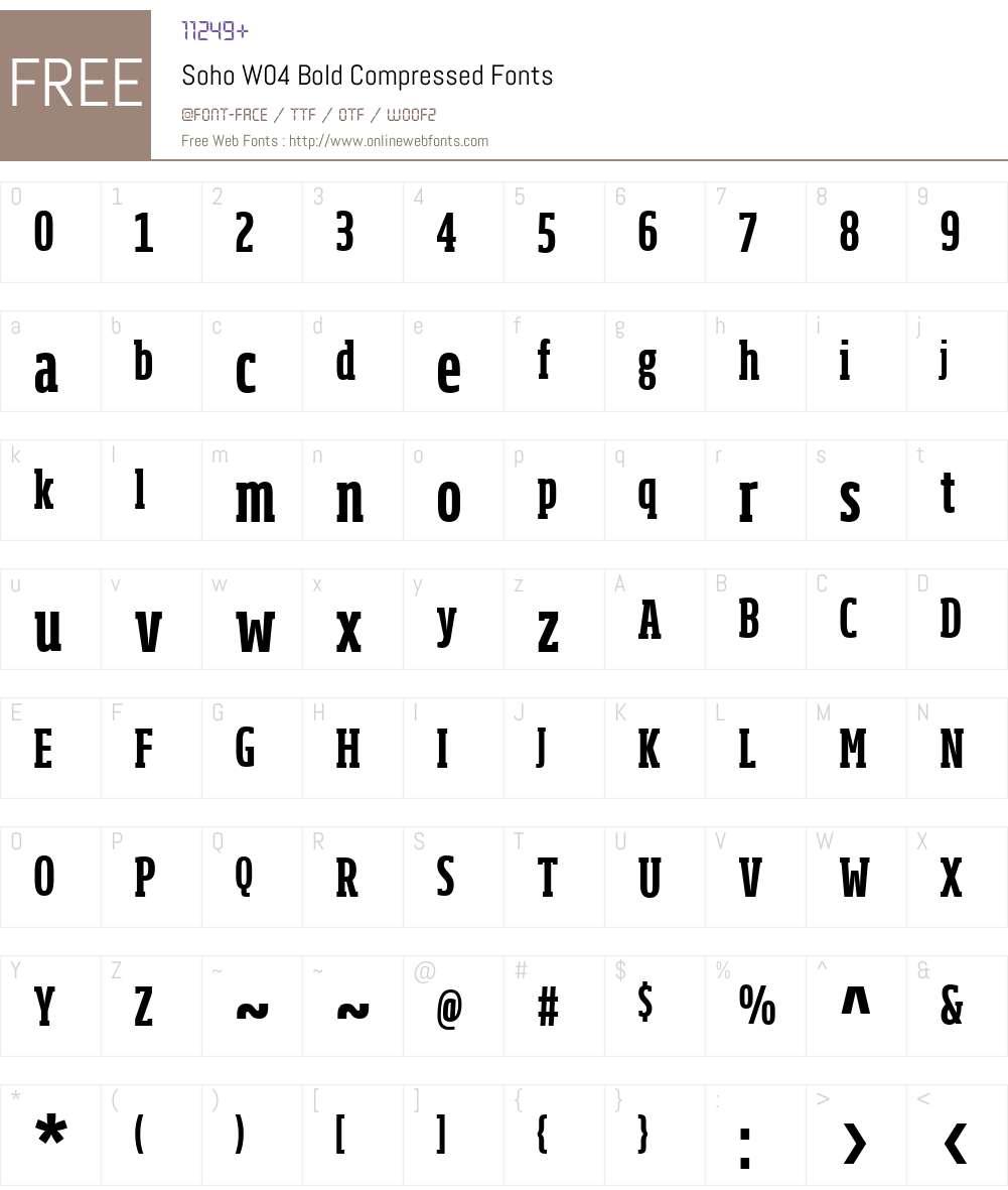 Soho Font Screenshots