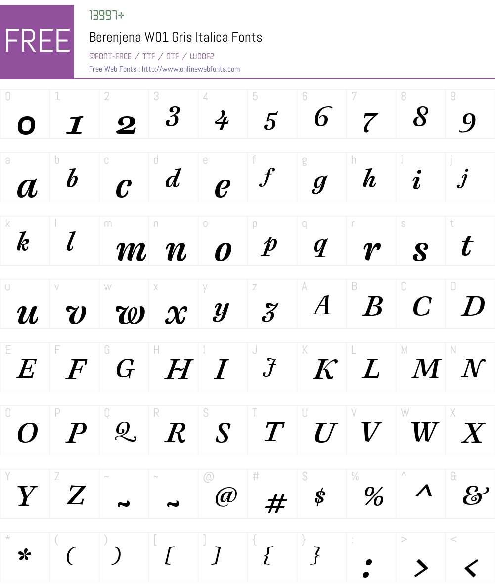 BerenjenaW01-GrisItalica Font Screenshots