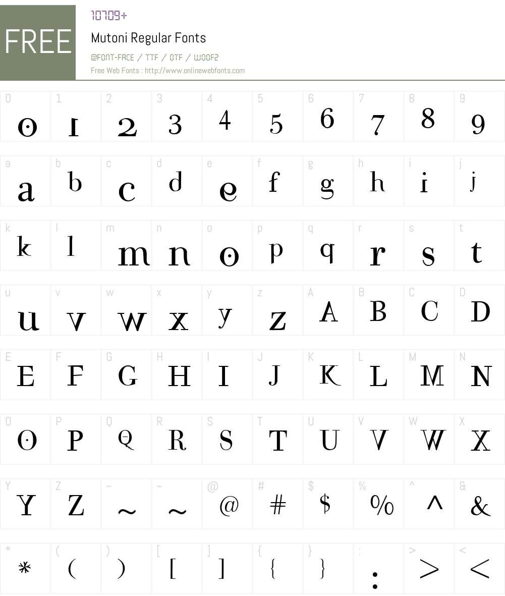 Mutoni Font Screenshots