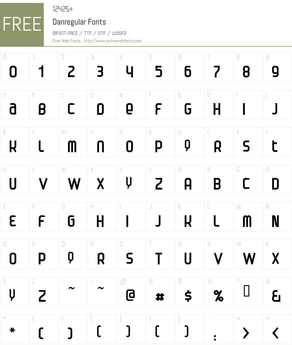 Danregular Font Screenshots