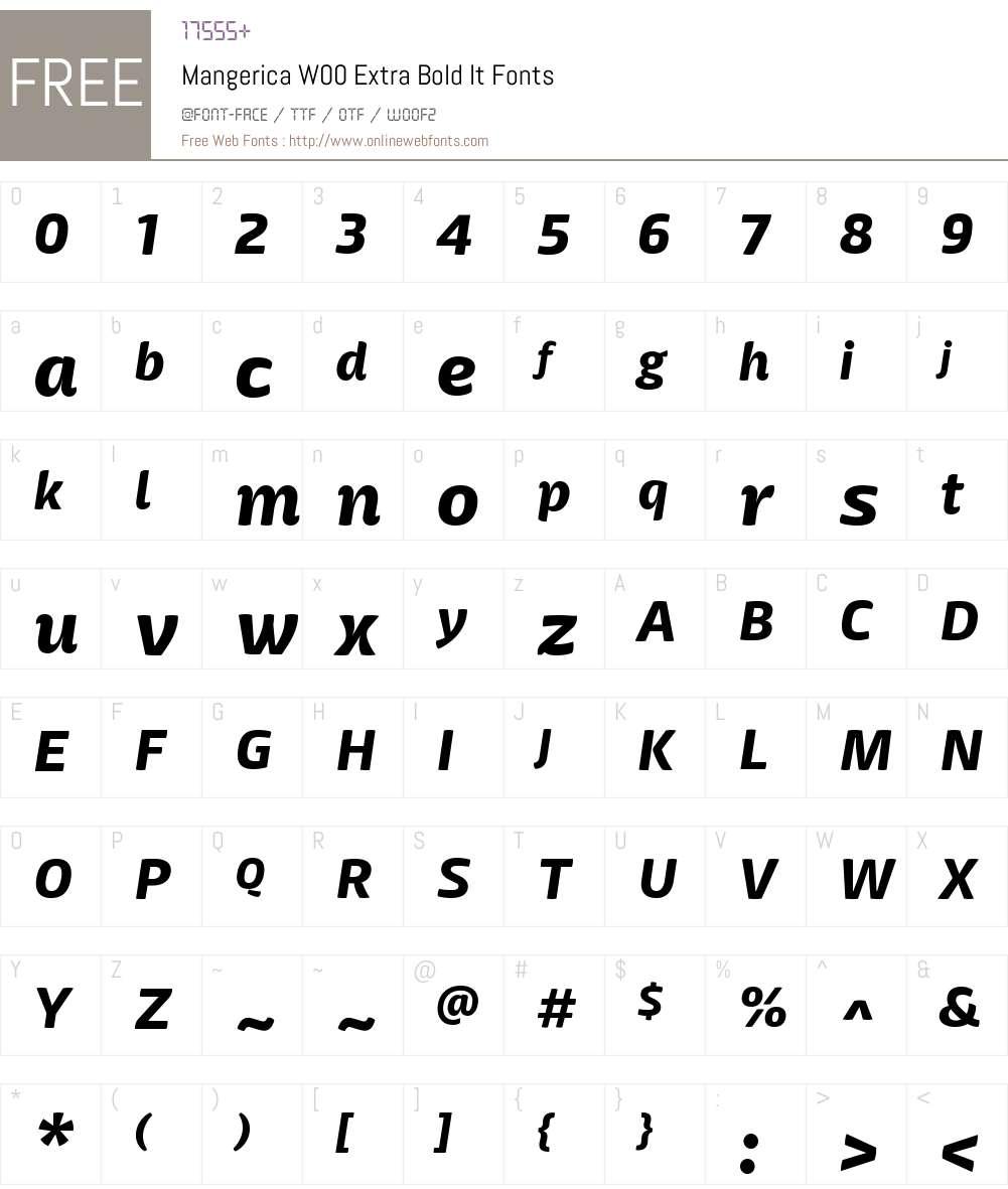 MangericaW00-ExtraBoldIt Font Screenshots