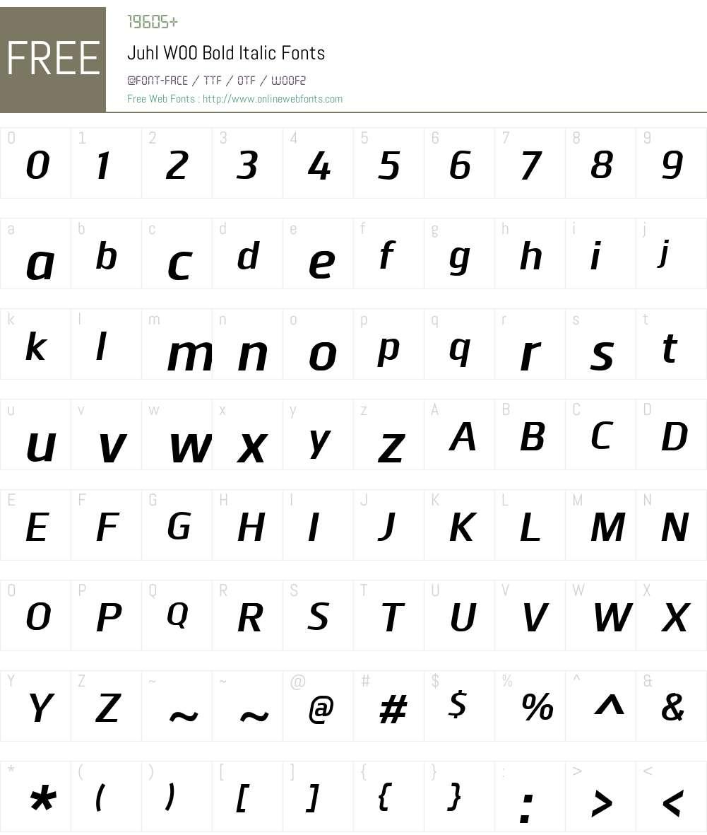 JuhlW00-BoldItalic Font Screenshots