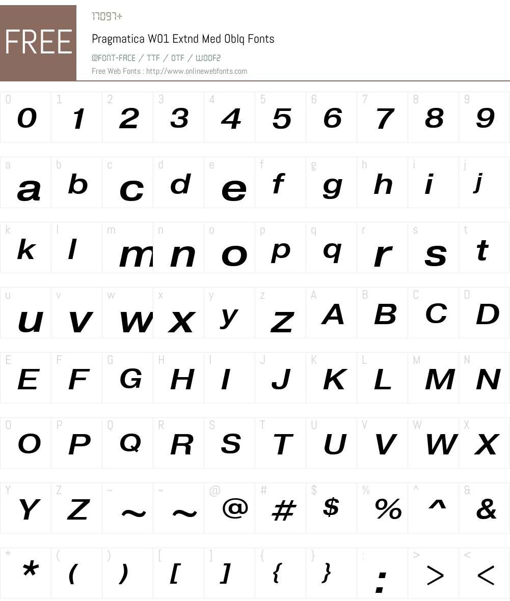PragmaticaW01-ExtndMedOblq Font Screenshots