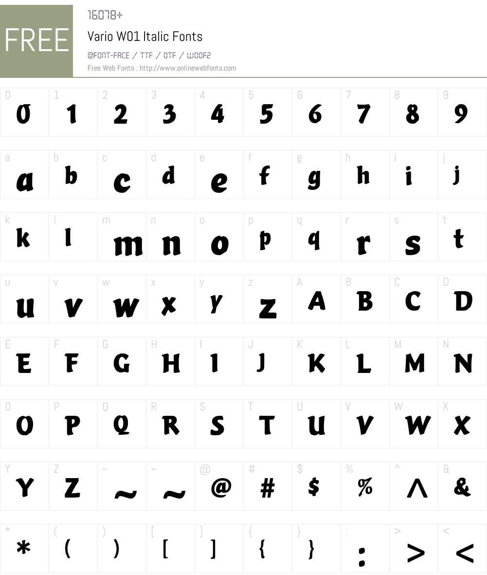 VarioW01-Italic Font Screenshots