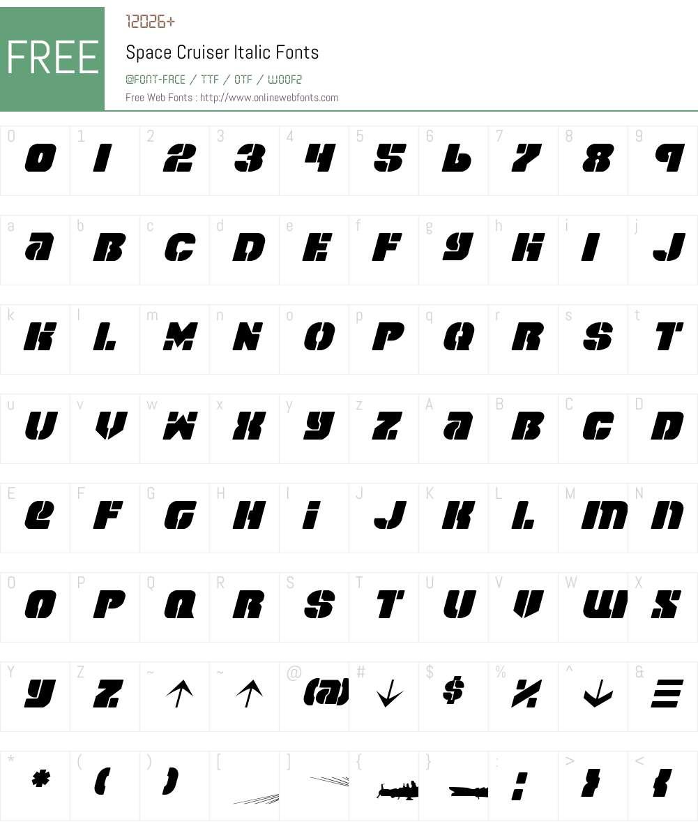 Space Cruiser Font Screenshots