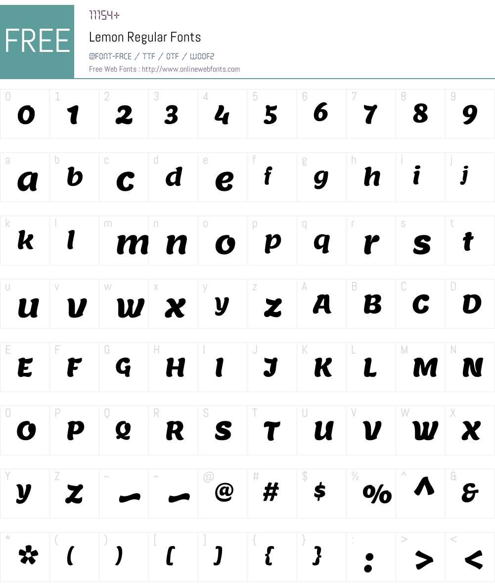 Lemon Font Screenshots