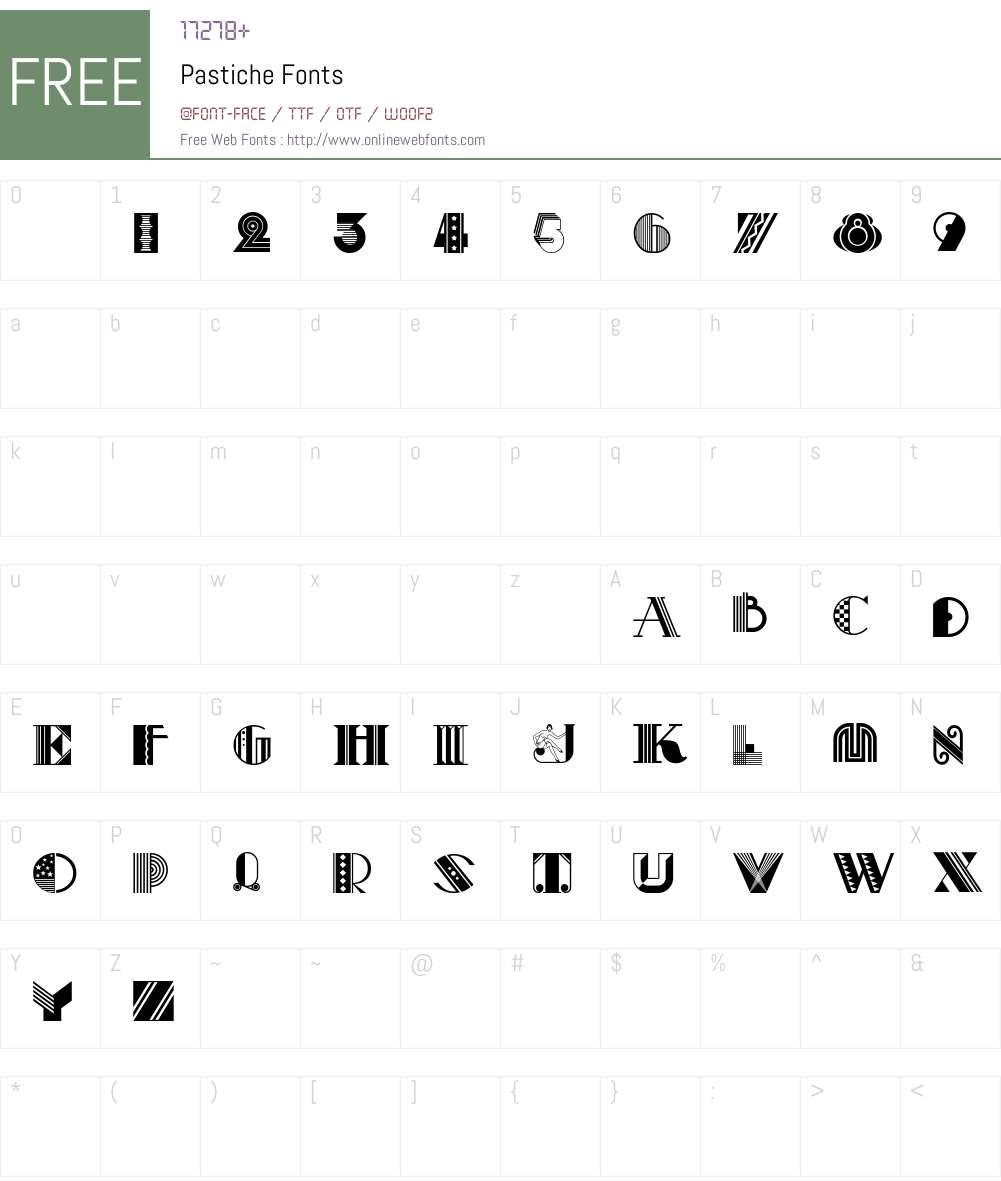 Pastiche Font Screenshots