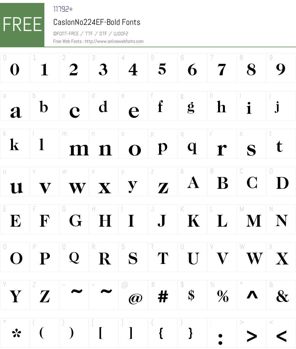 CaslonNo224EF-Bold Font Screenshots
