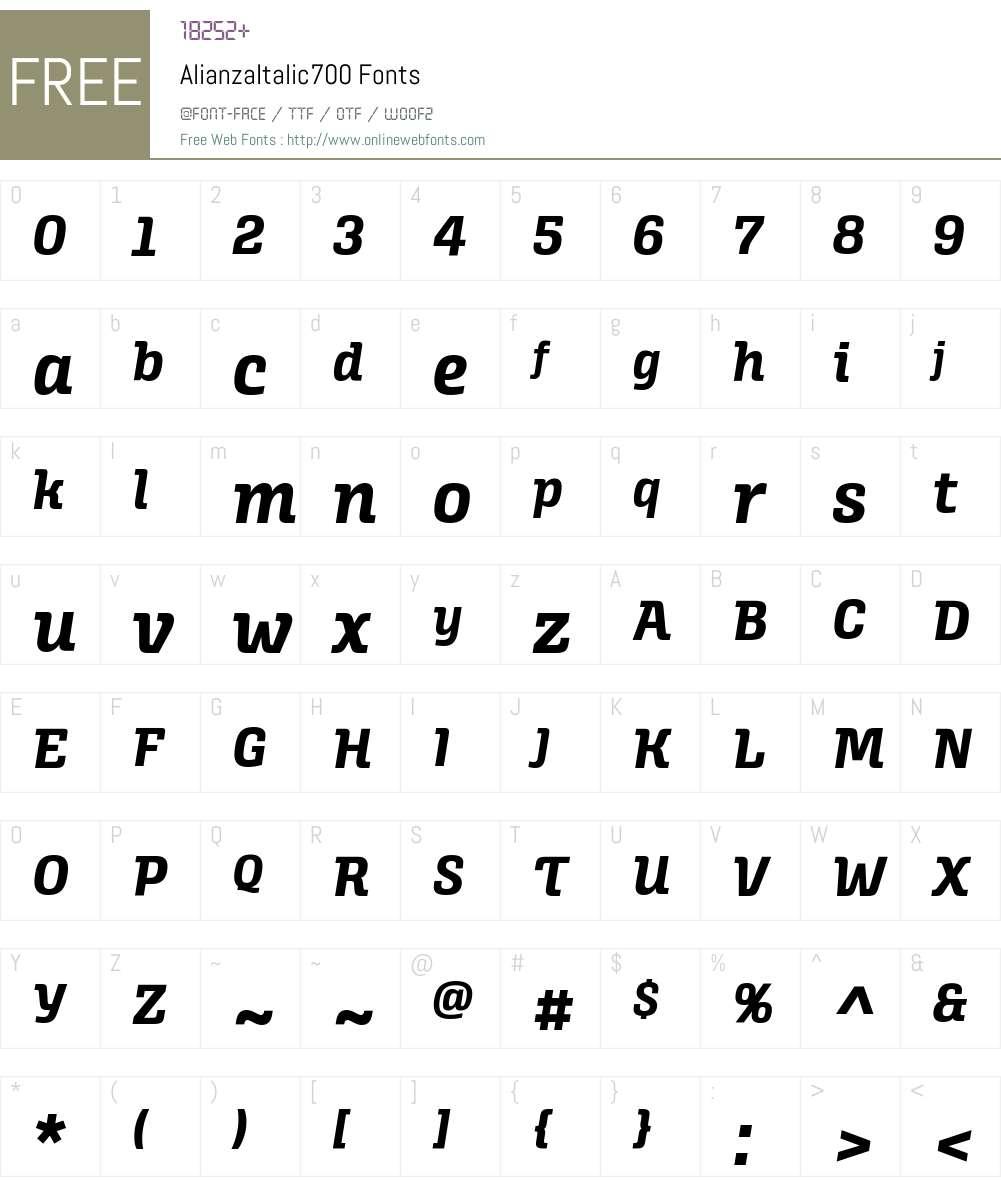 Alianza Italic 700 Font Screenshots