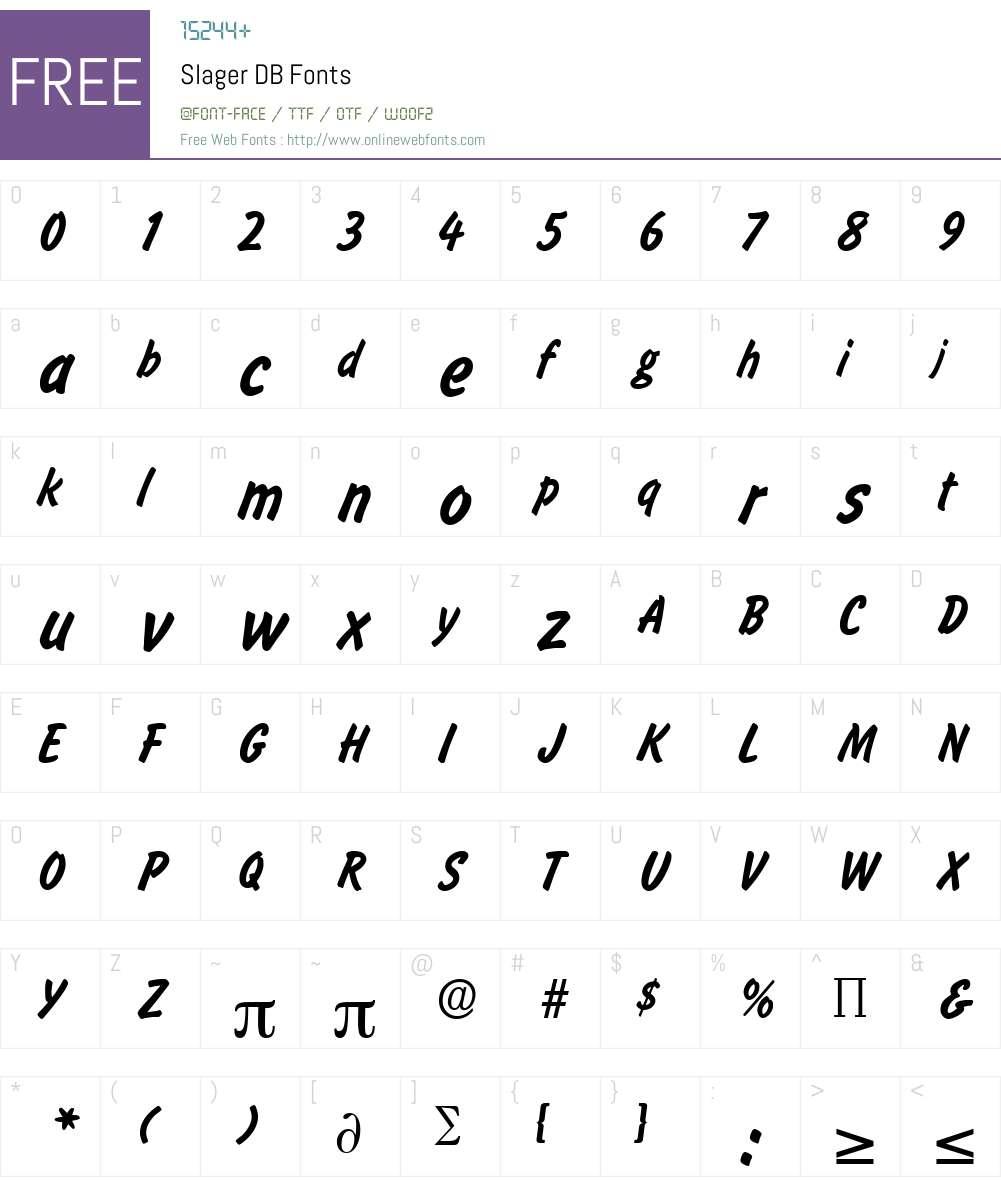 Slager DB Font Screenshots