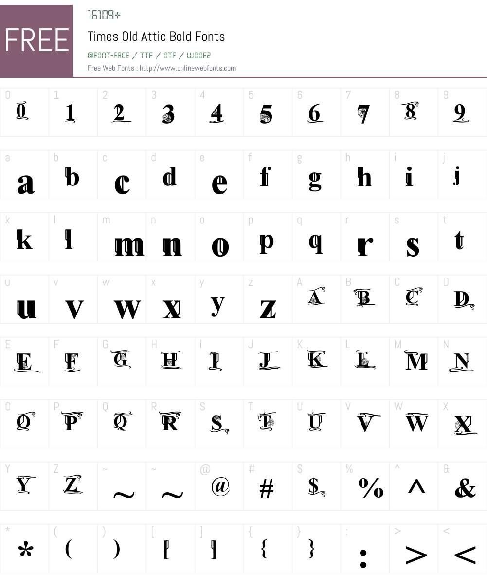 Times Old Attic Font Screenshots