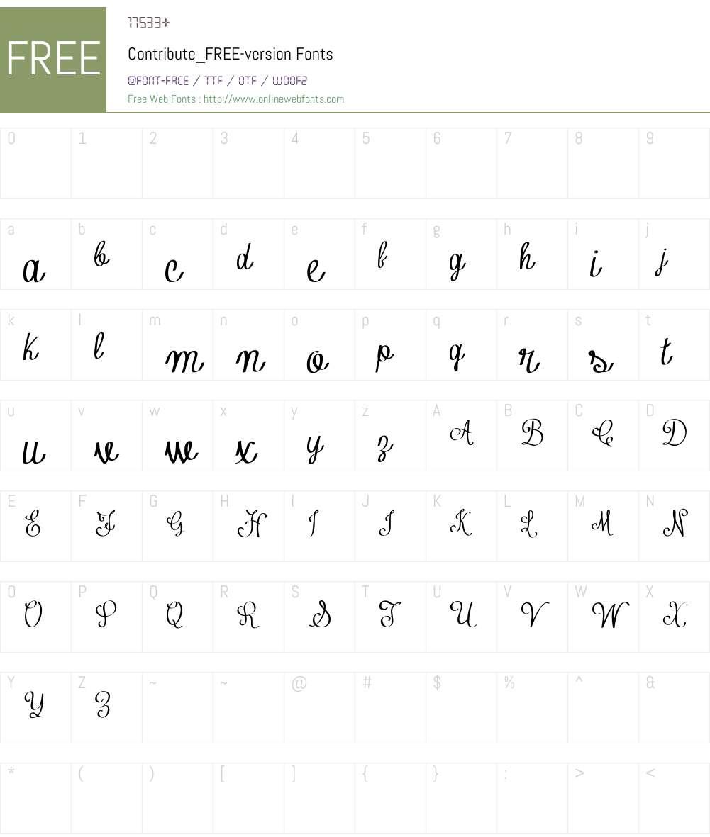 Contribute_FREE-version Font Screenshots