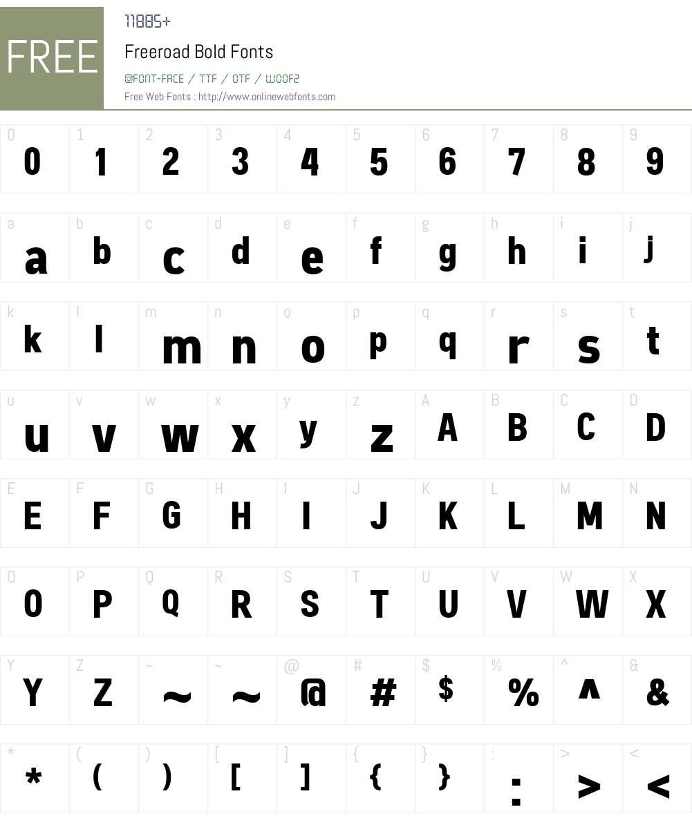Freeroad Font Screenshots