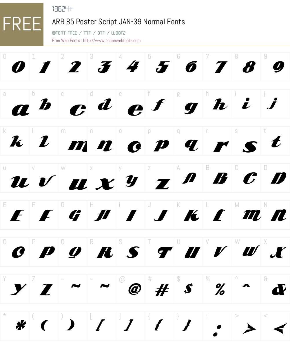 ARB 85 Poster Script JAN-39 Font Screenshots