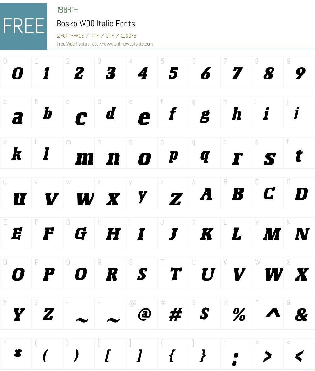 BoskoW00-Italic Font Screenshots