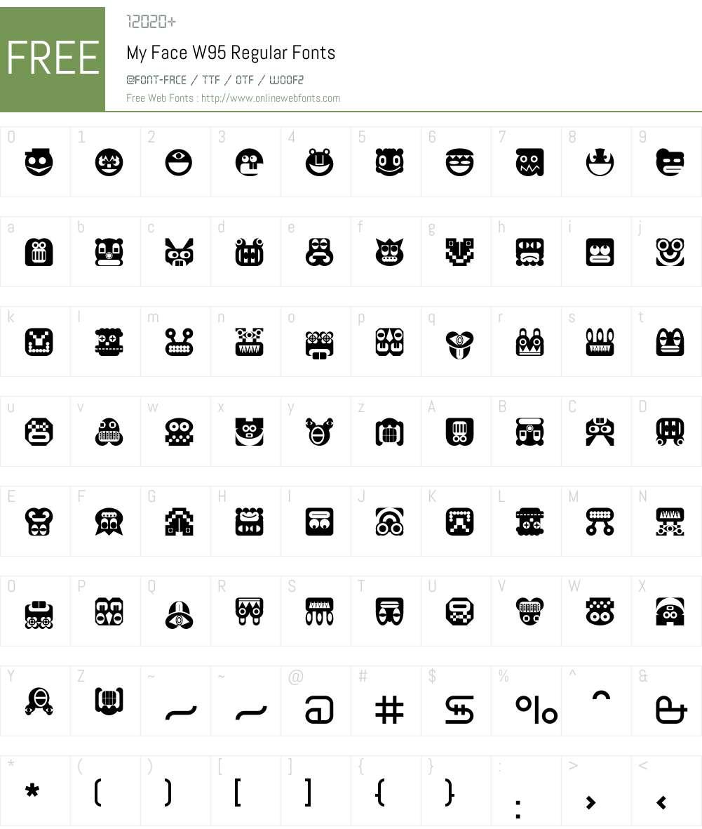 MyFaceW95-Regular Font Screenshots