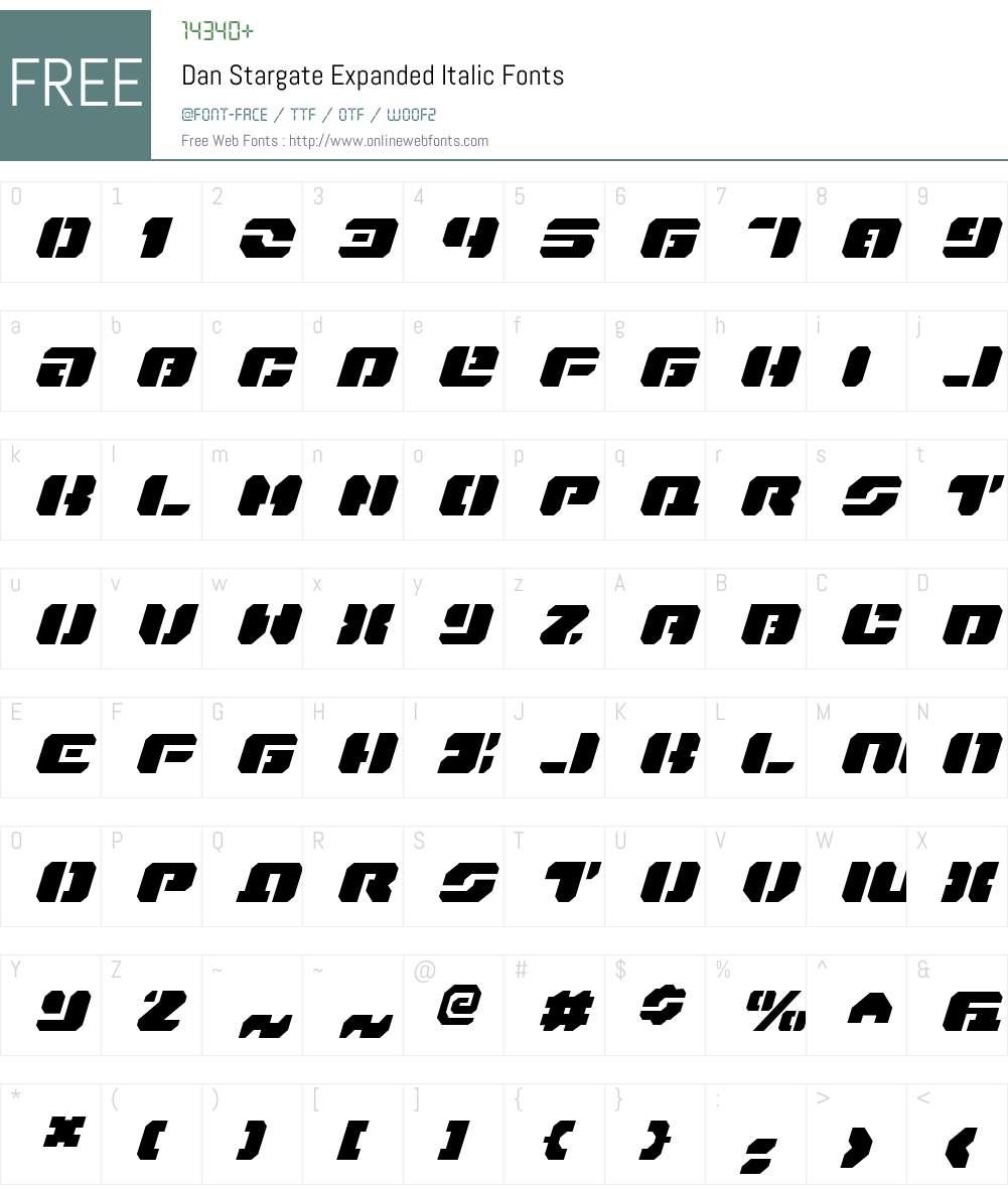 Dan Stargate Expanded Italic Font Screenshots