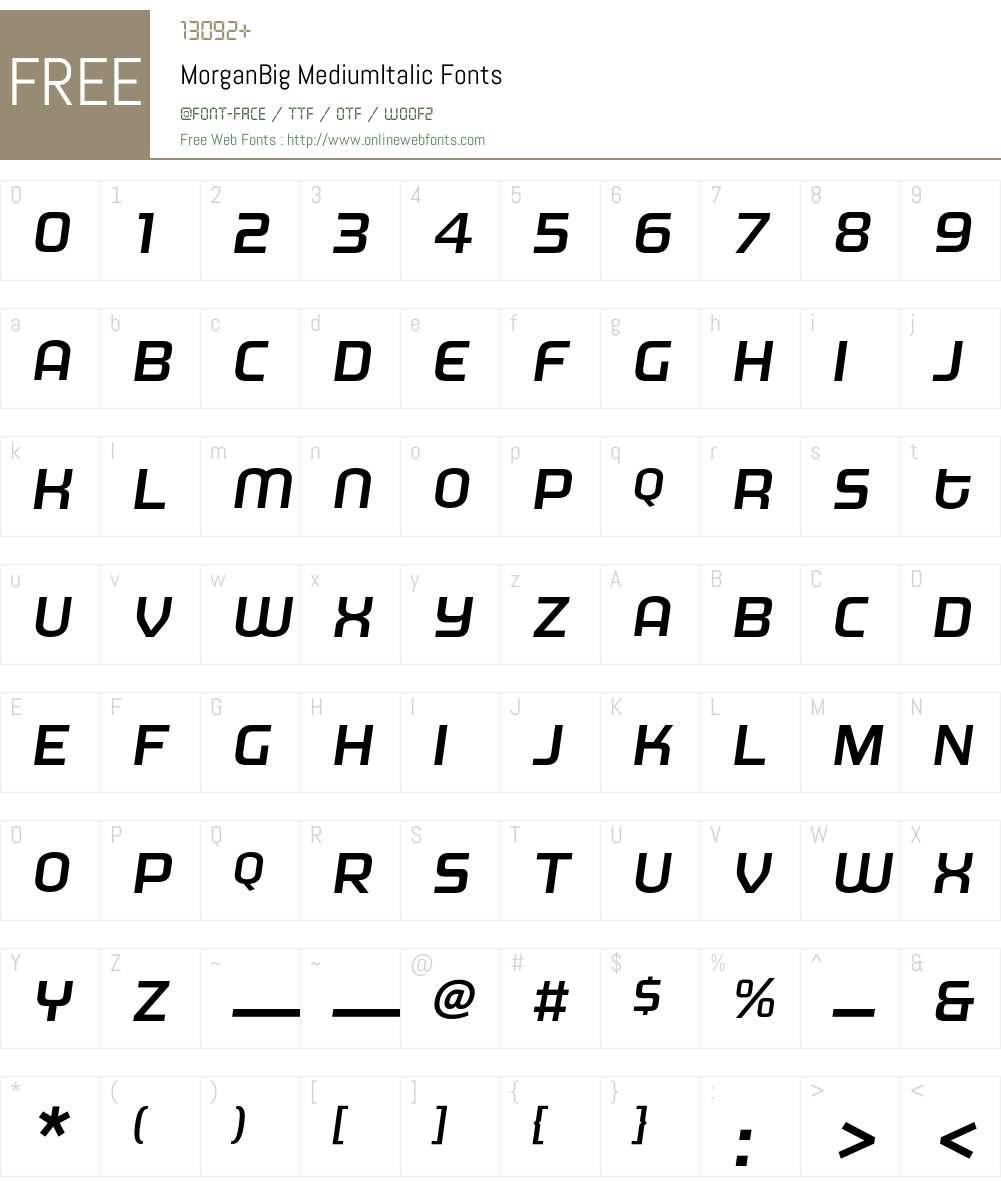 MorganBig Font Screenshots