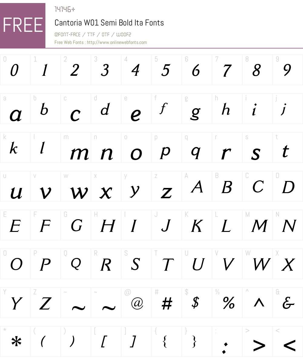 CantoriaW01-SemiBoldIta Font Screenshots