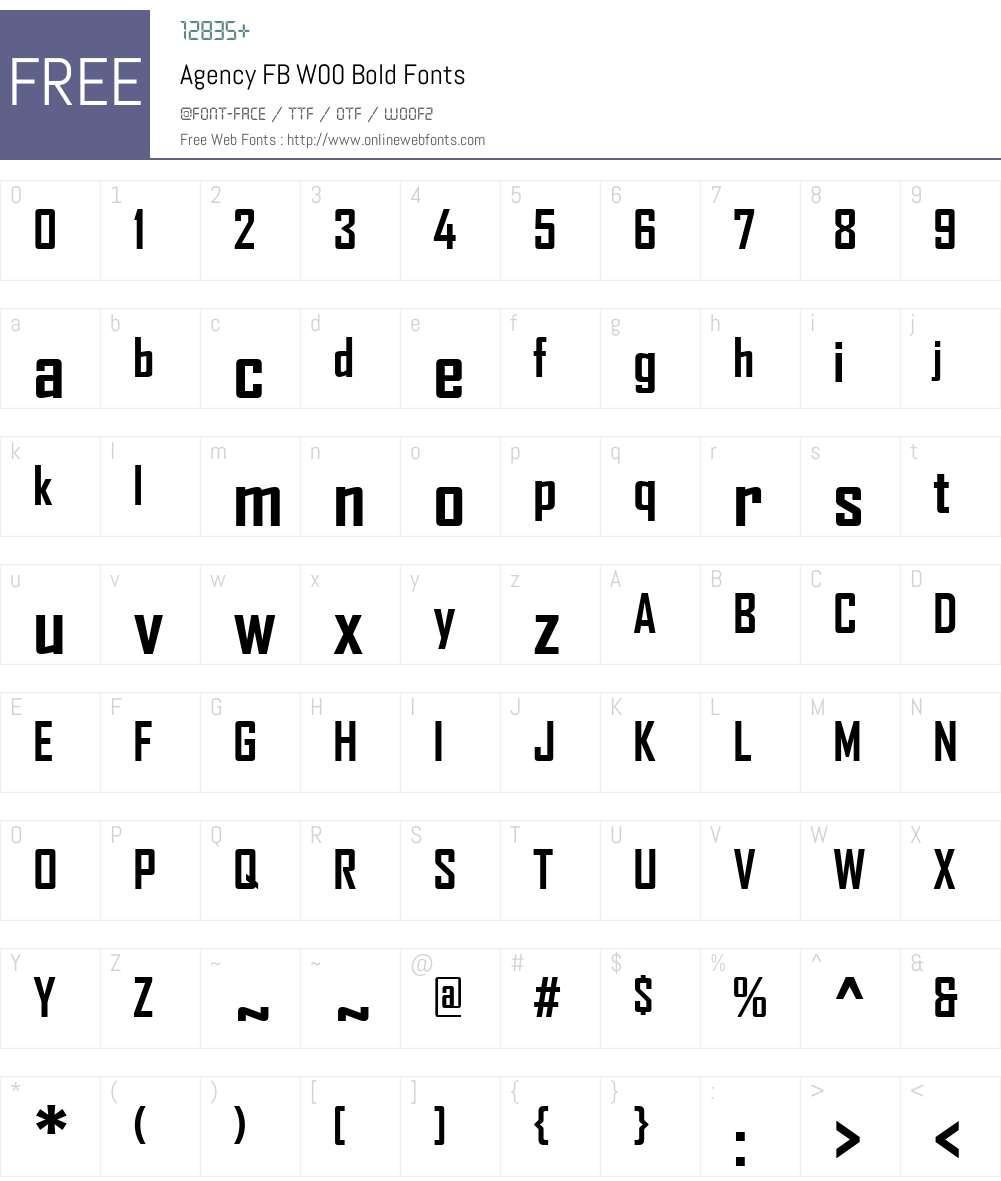 AgencyFBW00-Bold Font Screenshots