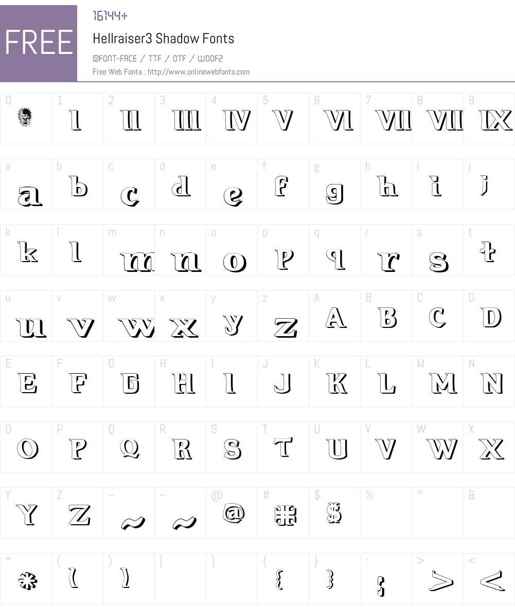Hellraiser3 Shadow Font Screenshots