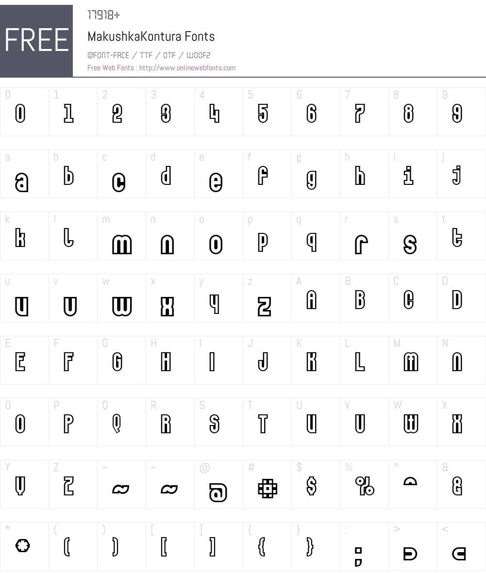 MakushkaKontura Font Screenshots