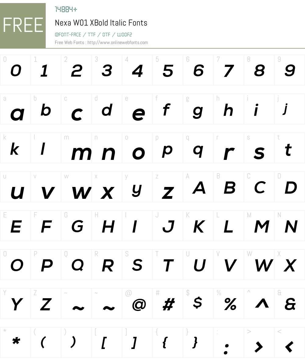NexaW01-XBoldItalic Font Screenshots
