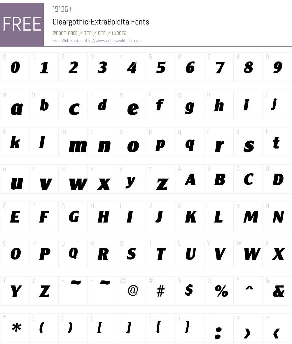 Cleargothic-ExtraBoldIta Font Screenshots