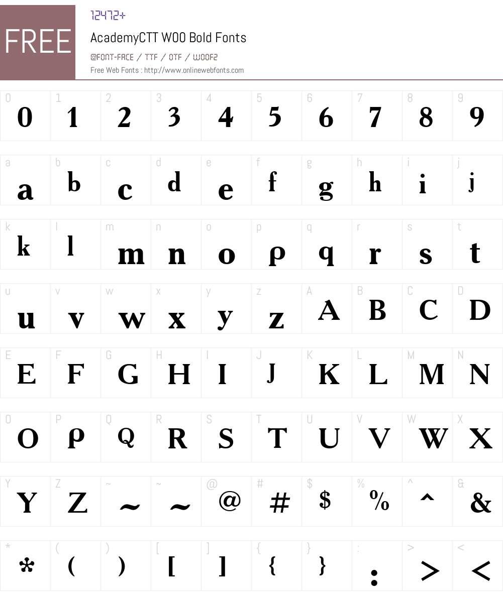 AcademyCTTW00-Bold Font Screenshots