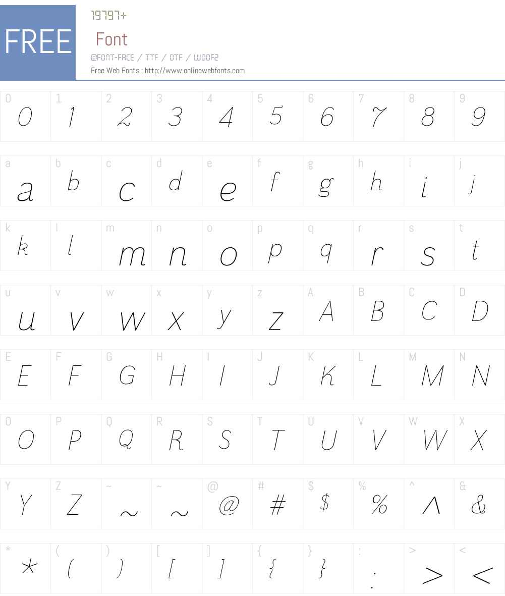 GrenaleW01-NormThinItalic Font Screenshots