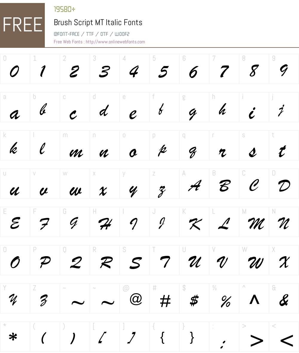 Brush Script MT Font Screenshots