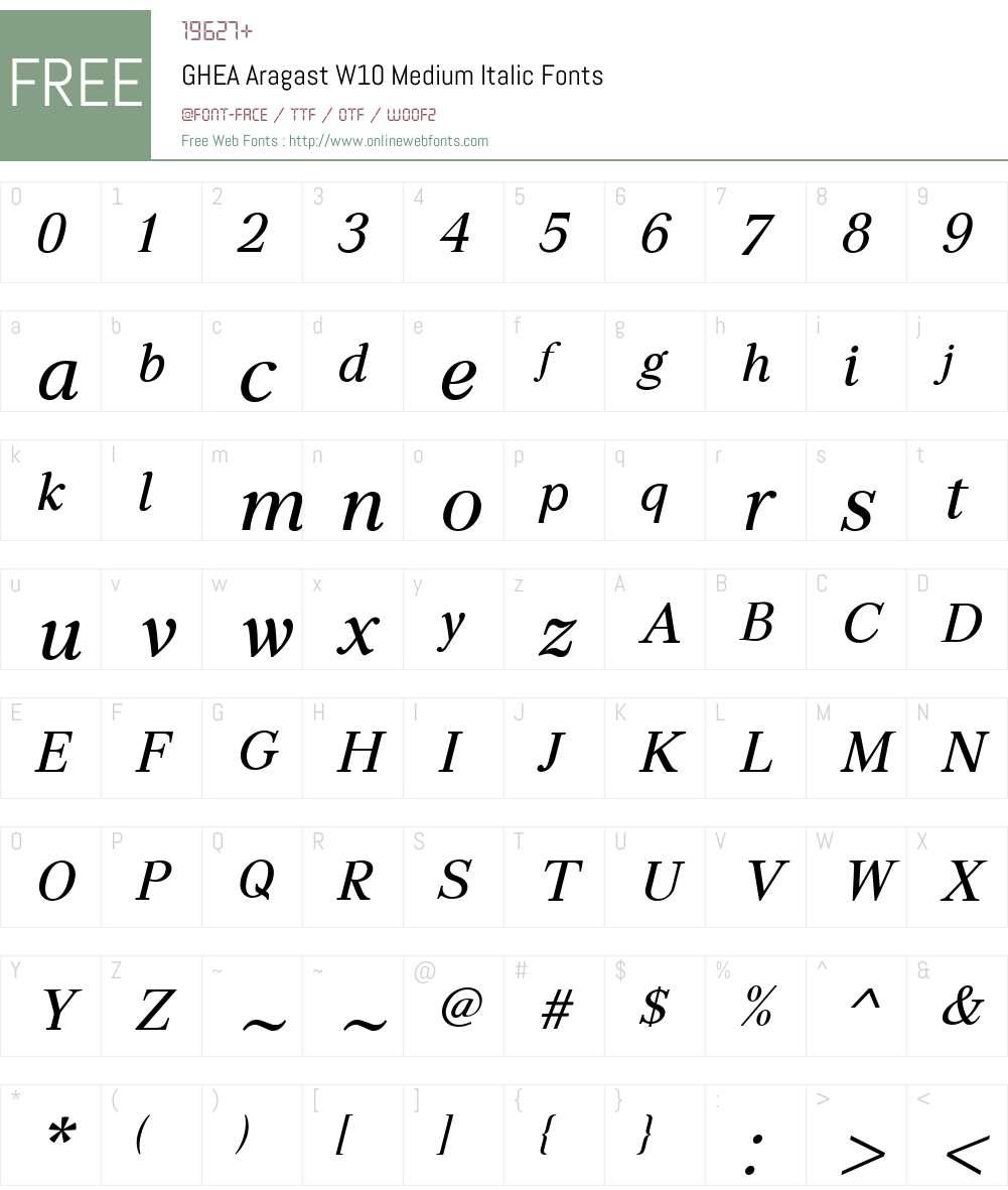 GHEAAragastW10-MediumItalic Font Screenshots