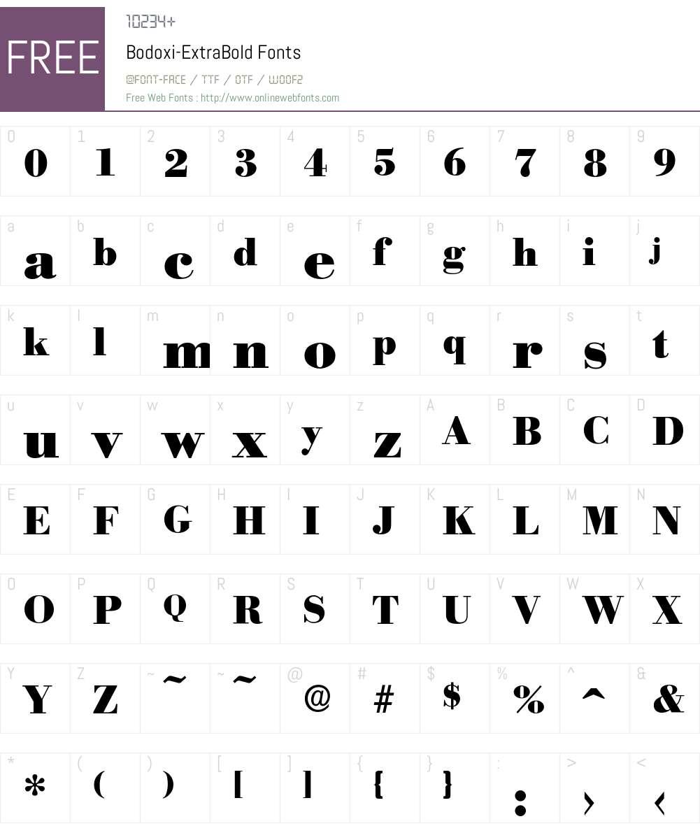 Bodoxi-ExtraBold Font Screenshots