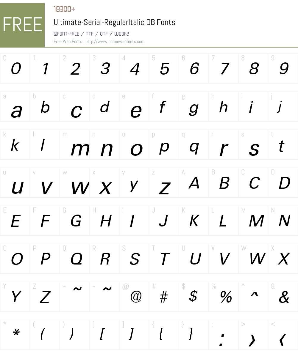 Ultimate-Serial DB Font Screenshots