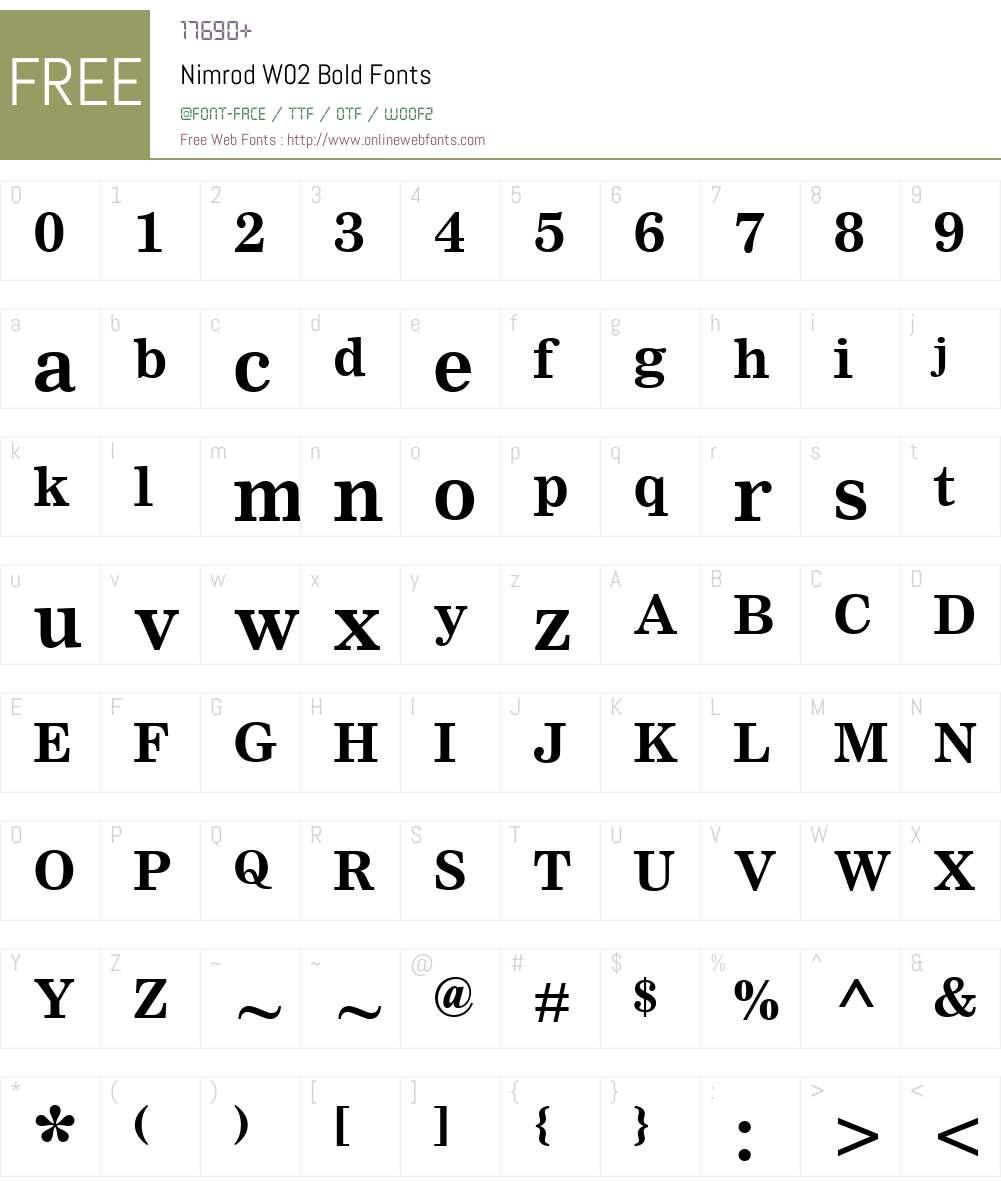 NimrodW02-Bold Font Screenshots