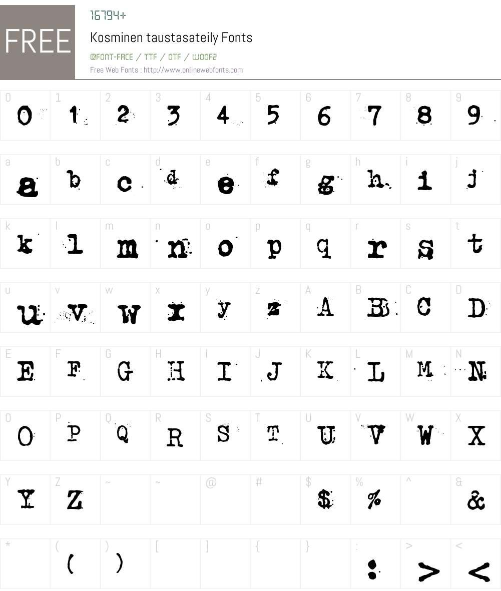 Kosminen taustasateily Font Screenshots