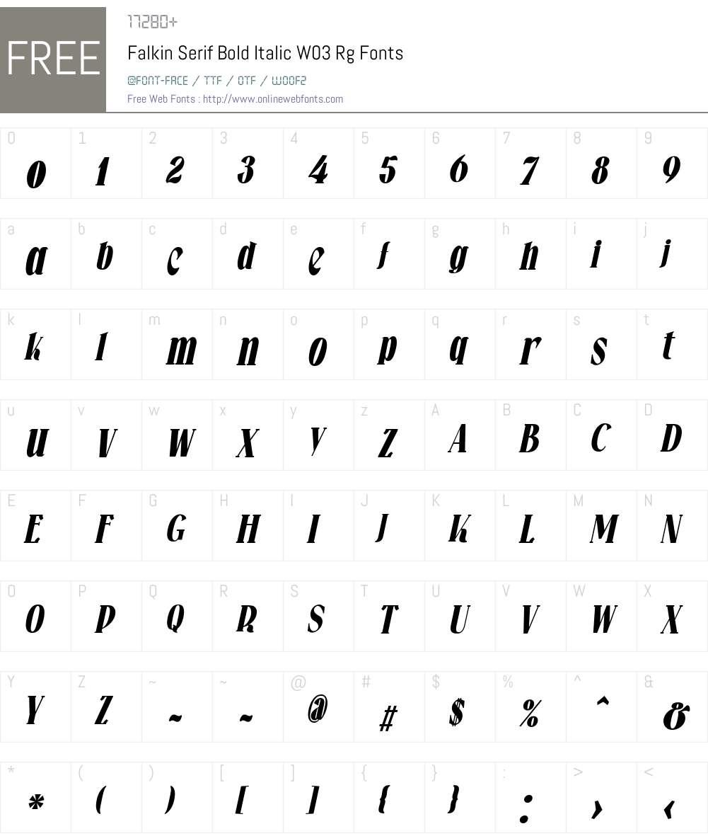 Falkin Serif Font Screenshots