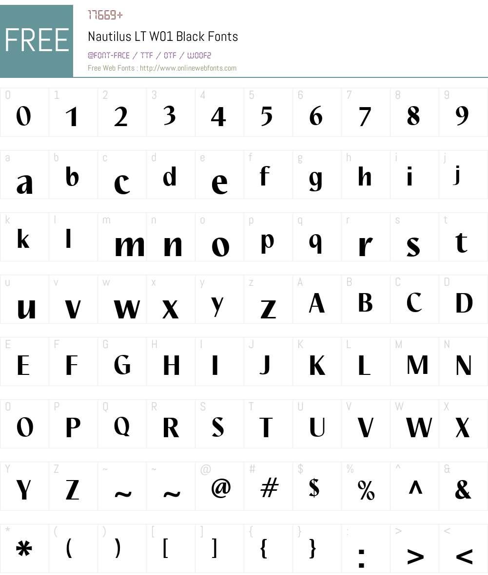 NautilusLTW01-Black Font Screenshots