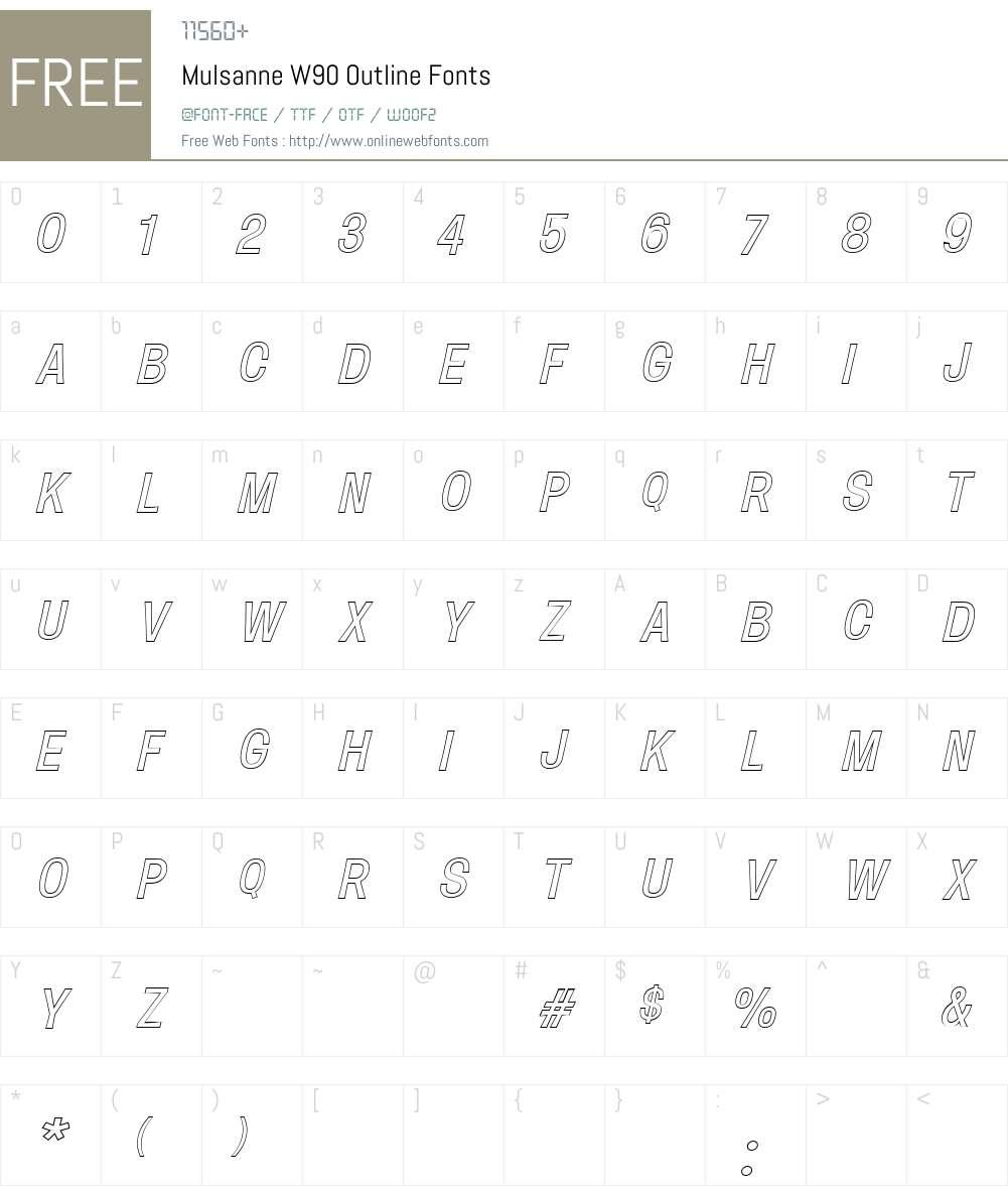 MulsanneW90-Outline Font Screenshots
