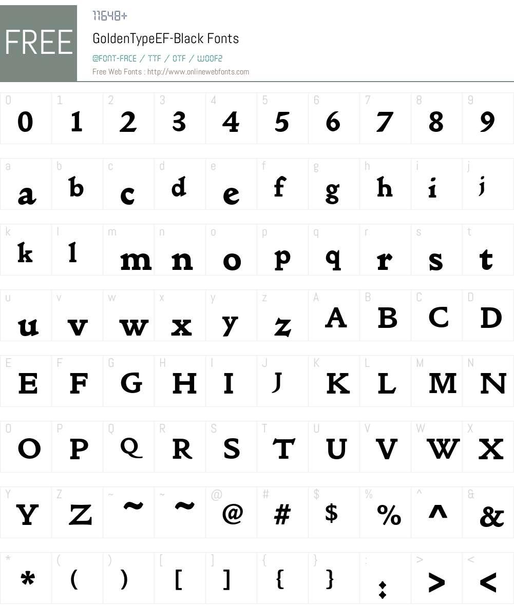 GoldenTypeEF Font Screenshots