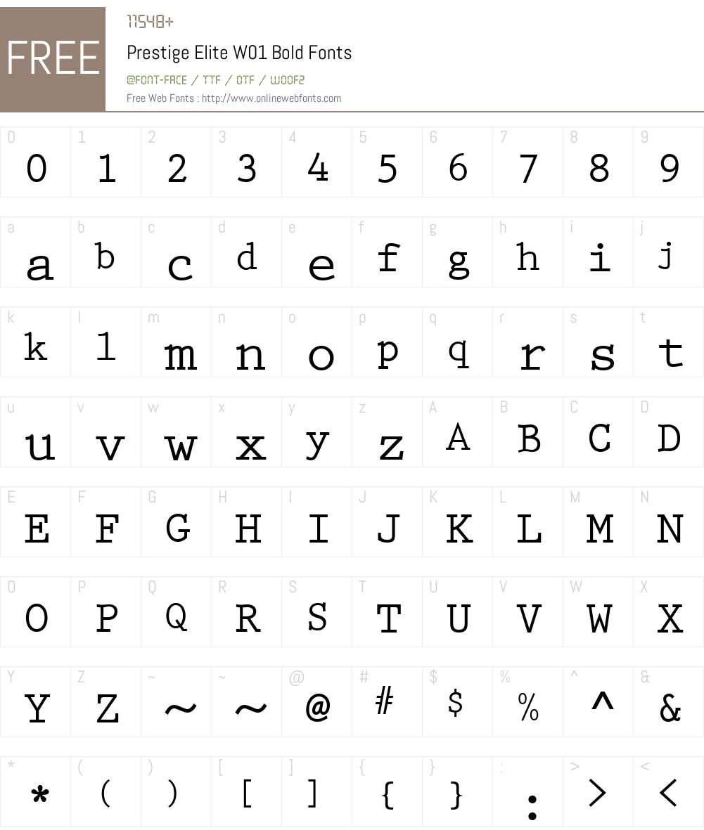 PrestigeEliteW01-Bold Font Screenshots