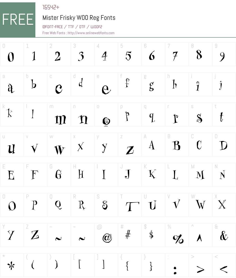 MisterFriskyW00-Reg Font Screenshots