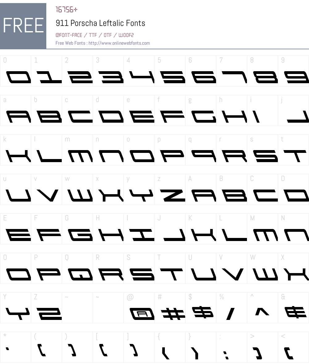 911 Porscha Leftalic Font Screenshots