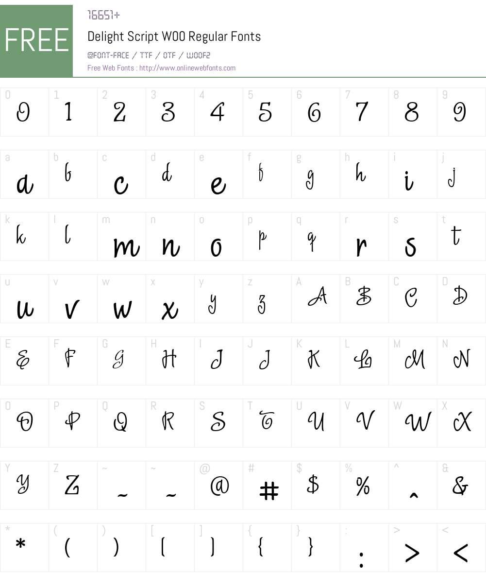 Delight Script Font Screenshots